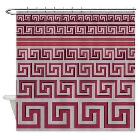 Greek Key Maroon Shower Curtain By Jqdesigns