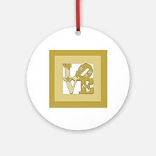 LOVE GOLD FRAMED Round Ornament