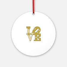 love gold Round Ornament