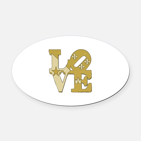 love gold Oval Car Magnet