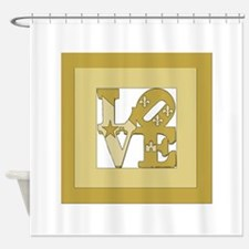 LOVE GOLD FRAMED Shower Curtain