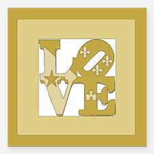 "LOVE GOLD FRAMED Square Car Magnet 3"" x 3"""