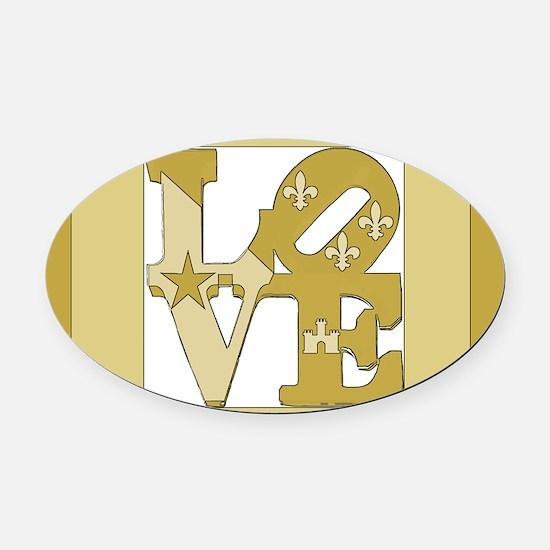 LOVE GOLD FRAMED Oval Car Magnet