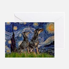 Starry Night / 2 Dobies Greeting Card