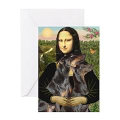 Mona's 2 Dobies Greeting Card