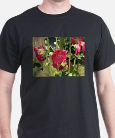 Red Hollyhock flowers in bloom 2 T-Shirt