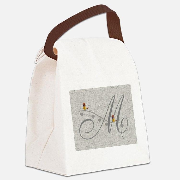 Cute Birds Monogram Canvas Lunch Bag