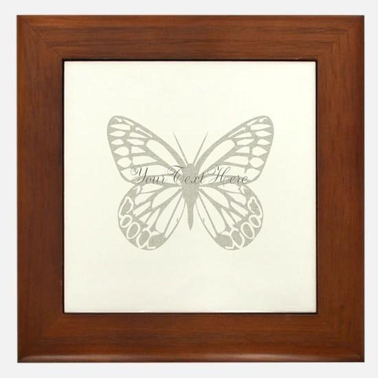 Cute Grey Butterfly Framed Tile