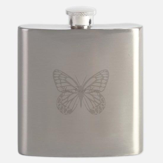 Cute Grey Butterfly Flask