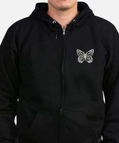 Cute Grey Butterfly Zip Hoodie (dark)