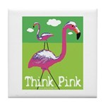 Think Pink Flamingos Tile Coaster