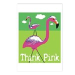 Think Pink Flamingos Postcards (Package of 8)