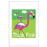 Think Pink Flamingos Large Poster