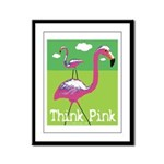 Think Pink Flamingos Framed Panel Print