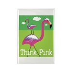 Think Pink Flamingos Rectangle Magnet (100 pack)