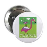 Think Pink Flamingos Button
