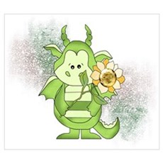 Little Green Dragon and Sunflower Poster