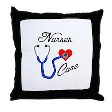 NURSES CARE Throw Pillow