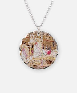Merry-go-round pink Necklace Circle Charm