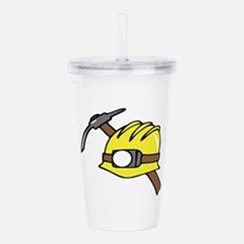 MINER HAT AND PICKAXE Acrylic Double-wall Tumbler