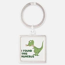 Cartoon Dinosaur Square Keychain