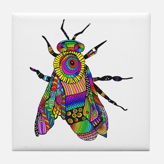 Painted Bee Tile Coaster