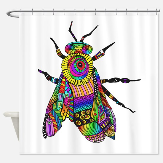 Painted Bee Shower Curtain