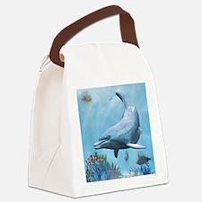 Dolphins Seascape Canvas Lunch Bag
