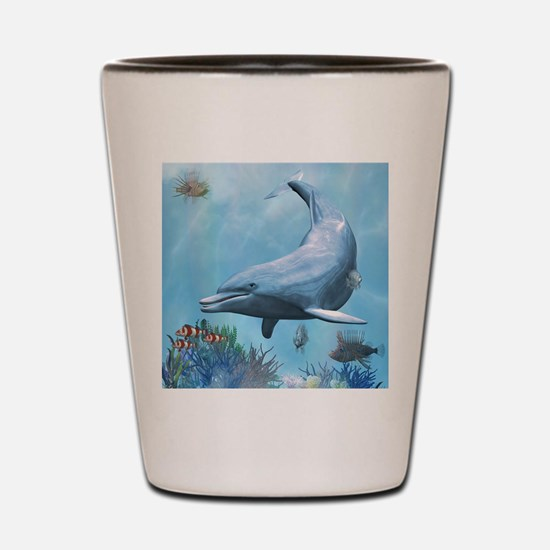 Dolphins Seascape Shot Glass