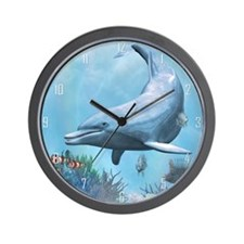 Dolphins Seascape Wall Clock