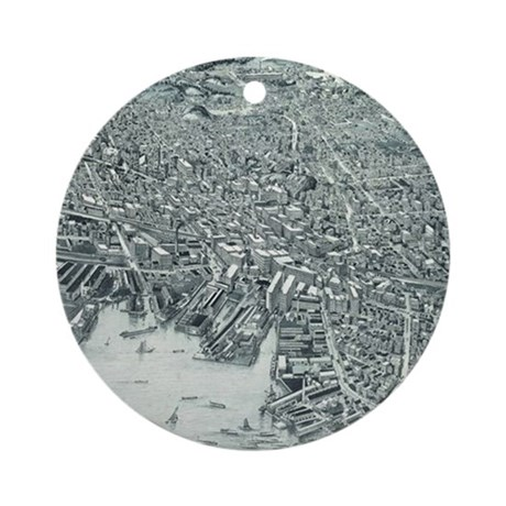 Vintage Pictorial Map of Lynn Massa Round Ornament