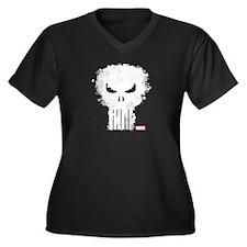 Punisher Sku Women's Plus Size V-Neck Dark T-Shirt