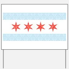 Damask Chicago Flag Yard Sign