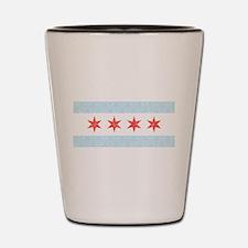Damask Chicago Flag Shot Glass