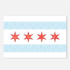 Damask Chicago Flag Postcards (Package of 8)