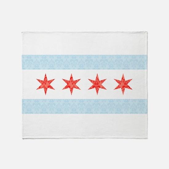 Damask Chicago Flag Throw Blanket