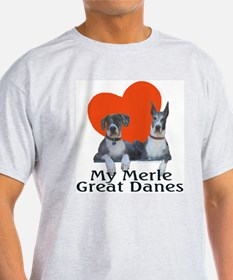 Luv My Merle Great Danes Ash Grey T-Shirt