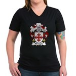 Almagro Family Crest Women's V-Neck Dark T-Shirt