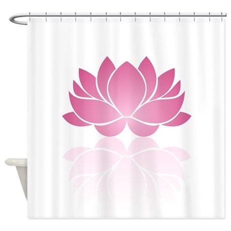 pink lotus shower curtain by fuzzychair