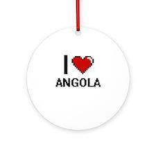 I Love Angola Digital Design Round Ornament