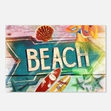 sunrise beach surfer Postcards (Package of 8)