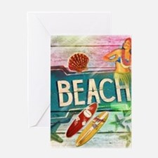 sunrise beach surfer Greeting Cards