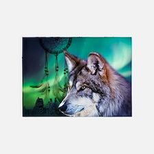 dream catcher northern light wolf 5'x7'Area Rug