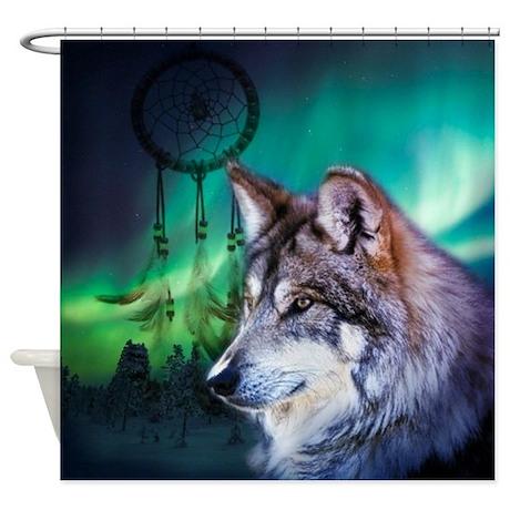 Good Dream Catcher Northern Light Wolf Shower Curtain