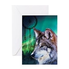 dream catcher northern light wolf Greeting Cards