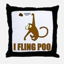 I Fling Poo Throw Pillow