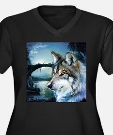 romantic moonlight wild wolf Plus Size T-Shirt