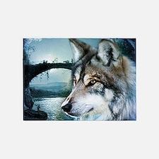 romantic moonlight wild wolf 5'x7'Area Rug