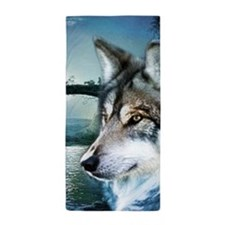 romantic moonlight wild wolf Beach Towel