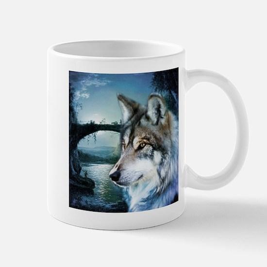 romantic moonlight wild wolf Mugs